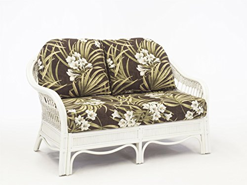 South Sea Rattan Bermuda Loveseat in WhiteWash Finish, Bamboozel Plantain (Rattan Bermuda)