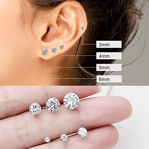 Outop Stud Earrings for Women Round Cubic Zirconia Stainless Steel Earrings Hypoallergenic Platinum Gold Plated 3-8mm (6 Pairs) by Outop (Image #6)