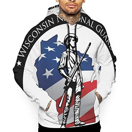 (Ougou Unisex Wisconsin National Guard Members Supporting Sweatshirt 3D Print Pullover Pockets Hoodie XL White)