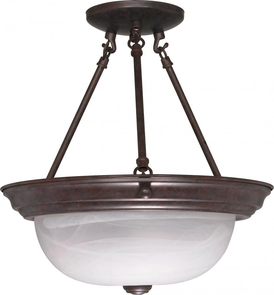 Nuvo Gothamシャンデリア 60/209 1 B002OM9R06 Old Bronze / Alabaster Glass 13インチ セミフラッシュ Old Bronze / Alabaster Glass