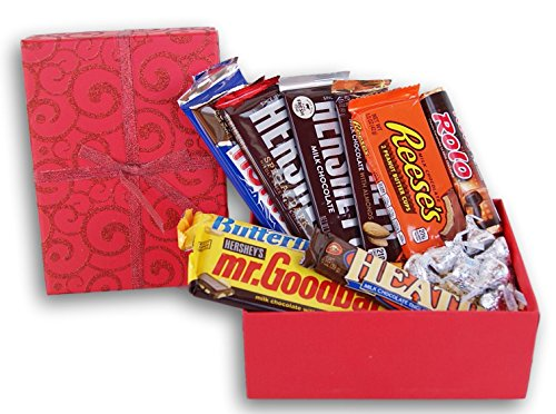 Chocolate Lovers'  Box of Candy- 10 Large Nestle, Hershey's Candy Bars and Kisses