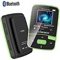 ChenFec C50 8GB Clip Bluetooth MP3 Player 1.5 Inch Screen Mini Size Lossless Sound Music Player with FM Radio Voice Record | Micro SD Card Support 64GB-Green