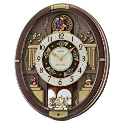 Brand New Seiko Melodies in Motion Pendulum Wall Clock 18 Melodies QXM488BRH