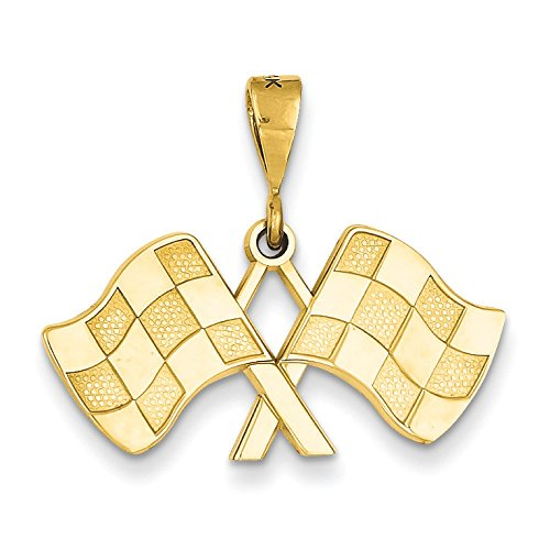 14K Yellow Gold Racing Flags Charm Pendant ()