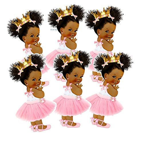Princess Party Cut-Outs, African American Princess Decor for Royal Birthday Baby Shower -