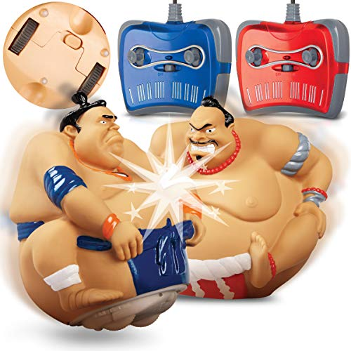 RC Sumo King Wrestling by Blue Hat Toy Co. with 2 Sumo Wrestler Fighters and Wireless Controls, Battery-Power Bumper Duelers, Built-In Sound Effects, Fun 2-Player Toy for Kids or White Elephant Gift