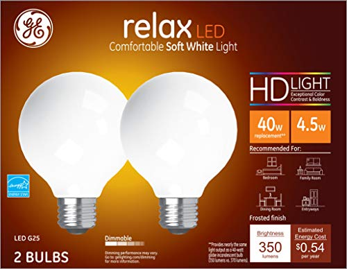 GE Lighting 31541 Finish Light Bulb Relax HD Dimmable LED G25 Decorative Globe 4.5 (40-Watt Replacement), 350-Lumen Medium Base, 2-Pack, Frosted White, 2 Count