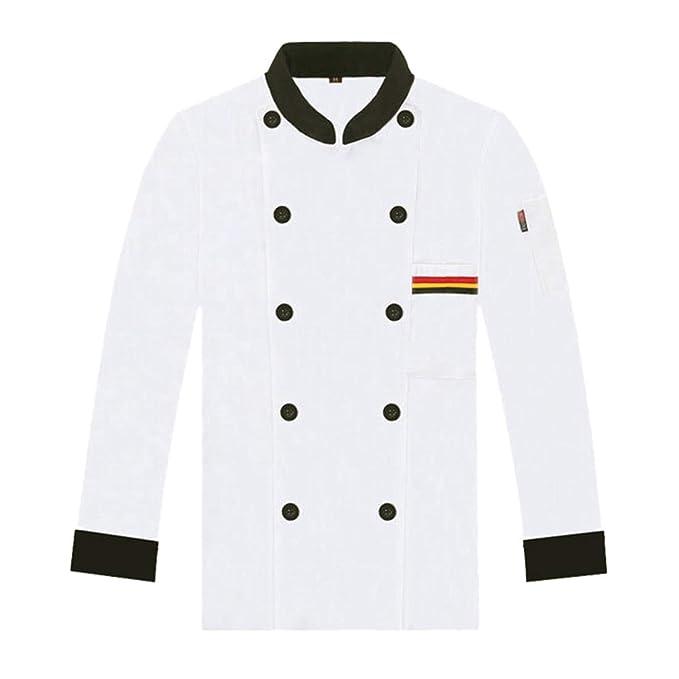 Oraunent Chaqueta de Chef Cocinero Uniforme de Trabajo Manga Larga ...