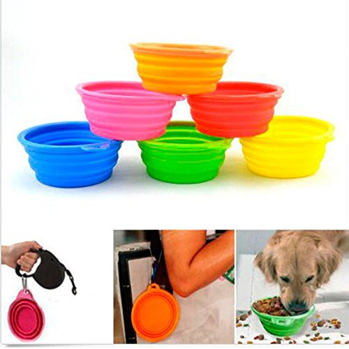 GIG Fashion Dog Pet Cat Travel Dish Feeder Feeding Bowl Water Silicone