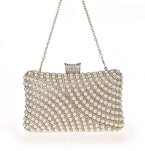Pearl Gold Bead Diamante Shining Faux Clutch Seed 7260 Rhinestone HandBag vanf4