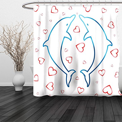 HAIXIA Shower Curtain Sea Animals Two Dolphins with Red Heart Ornaments Romance Love Happiness in Ocean Blue (Raining Hearts Rhinestones)