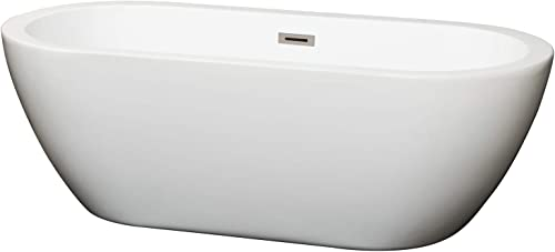 Wyndham Collection Soho 68 inch Freestanding Bathtub in White with Brushed Nickel Drain and Overflow Trim