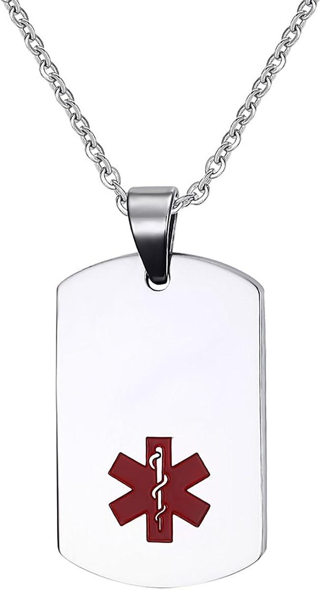 Flongo Colgante de identificación de emergencia médica de marca SOS para hombre, cadena de plata y oro, grabado gratuito, marca médica personalizada, marca militar