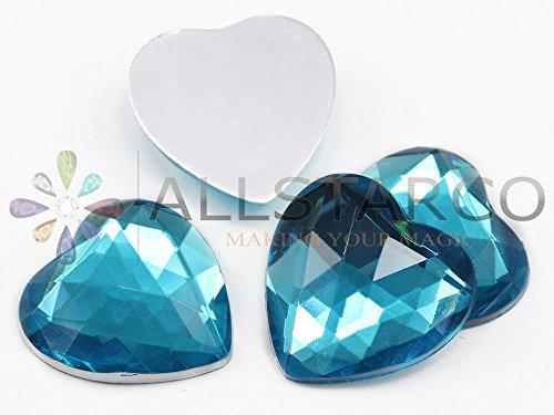 25mm Blue Aqua H109 Flat Back Heart Acrylic Gemstones High Quality Pro Grade - 18 Pieces -