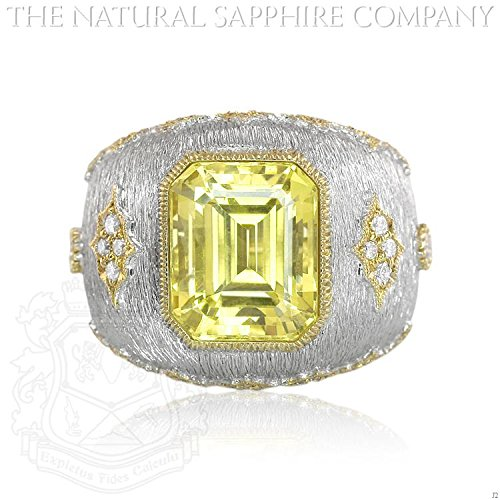8.35ct. Natural Certified Untreated Yellow Sapphire Ring, 66 Diamonds total 0.40ct. 18K W: 17.36gm (J2)