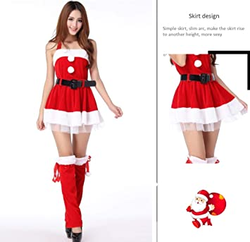 43d2d149ac WFTD Navidad Santa Claus Traje de Las Mujeres de Hombro Vestido de Liguero  de la Falda Conjunto de Terciopelo de Lujo Vestido de Noche Rojo   Amazon.com.mx  ...
