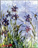 Ceramic Tile Mural - Irises - by Claude Monet - Kitchen backsplash / Bathroom shower