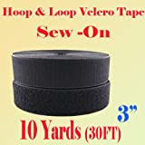 3'' (Inch) Width Black or White Sew on Hook & Loop - Premium Grade Non-adhesive Sew-on Style Sold Includes Hook and Loop Both Strips Interlocking Tape Sold By 5, 10, 27 Yards (Black - 10 yards)
