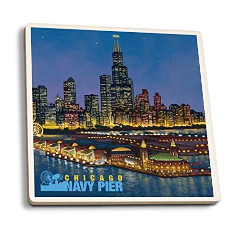 Lantern Press Chicago, Illinois - Navy Pier and Sears Tower (Set of 4 Ceramic Coasters - Cork-Backed, Absorbent) ()