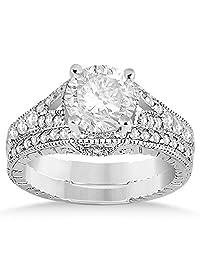 Antique Style Art Deco Diamond Bridal Set Palladium (0.53ct) (No center stone included)