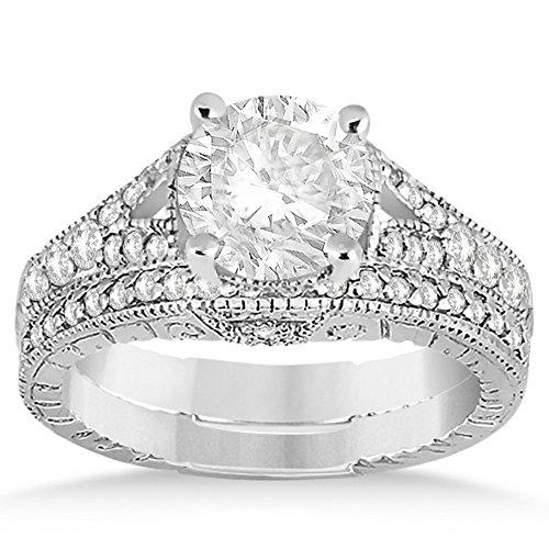 (Antique Vintage Style Art Deco Filigree Diamond Bridal Set Platinum Setting (0.53ct))