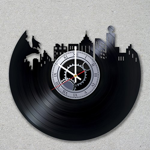 [Contemporary modern justice vinyl record wall clock comics dark bat movie home room kitchen decor unique gift ideas for him her boys] (Frank Miller Batman Costume)