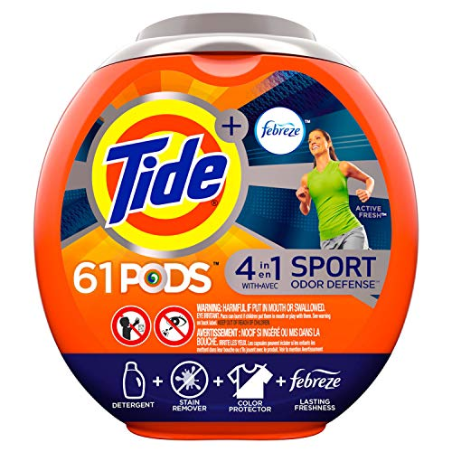Tide PODS Laundry Detergent Liquid Pacs Plus Febreze Sport Odor Defense, Active Fresh Scent,  4 in 1 HE Turbo, 61 Count Tub (Packaging May Vary) (Best Way To Remove Cat Urine Odor)