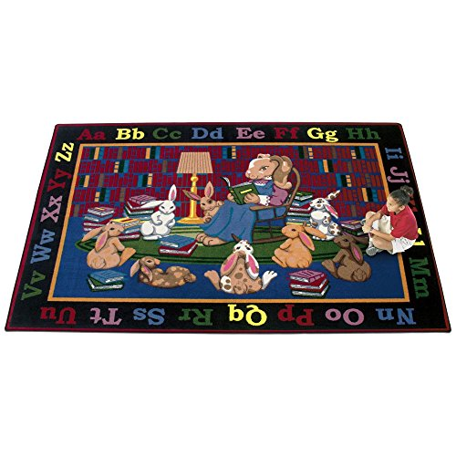 Joy Carpets Kid Essentials Language & Literacy Reading Rocks Rug, Multicolored, 7'8