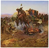 3dRose cst_126731_3 Camp Cooks Troubles by Charles M Russell American West Ceramic Tile Coasters, Set of 4