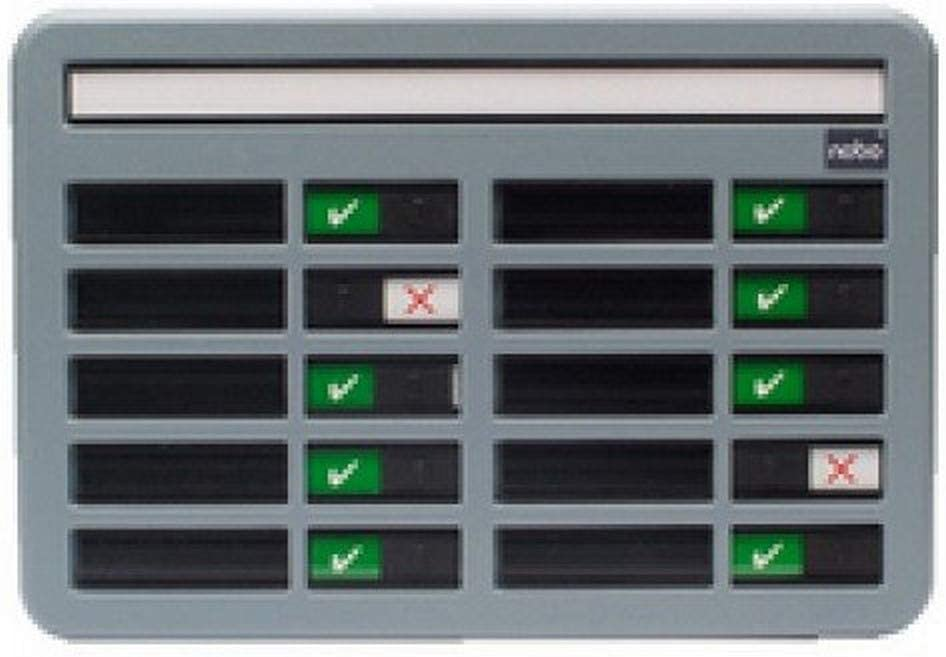Nobo in/Out Board with 10 Name Capacity Grey (340x230 mm)