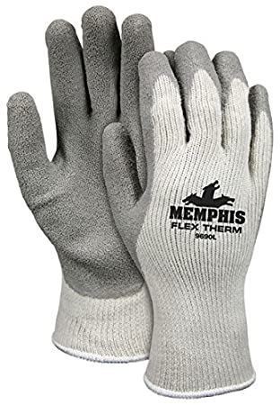 Memphis Glove 9690S Flex-Therm Heavy Weight Cotton/Polyester Shell Mens Gloves with Latex Dipped Palm and Fingertips, Gray, Small, 1-Pair