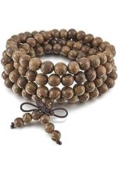Men,Women's 8mm Wood Bracelet Link Wrist Necklace Chain Tibetan Buddhist Grey Bead Prayer Buddha Mala Chinese knot Elastic