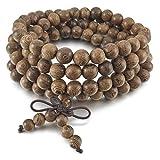 INBLUE Men,Women's 8mm Wood Bracelet Link Wrist Necklace Chain Tibetan Buddhist Grey Bead Prayer Buddha Mala Chinese knot Elastic