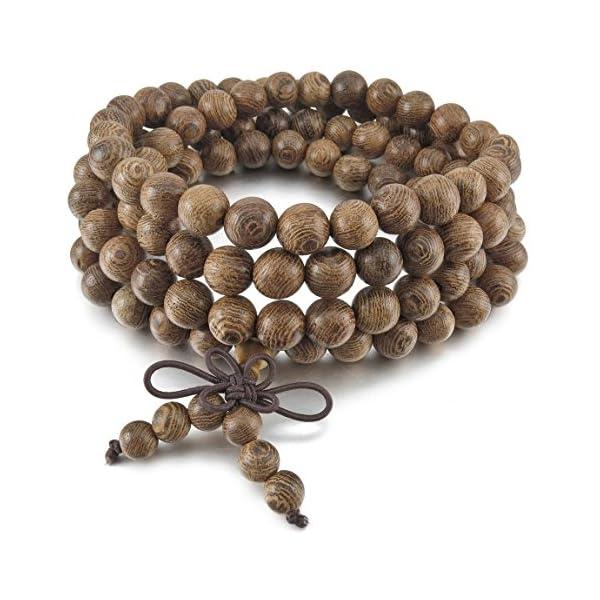 MenWomens-8mm-Wood-Bracelet-Link-Wrist-Necklace-Chain-Tibetan-Buddhist-Grey-Bead-Prayer-Buddha-Mala
