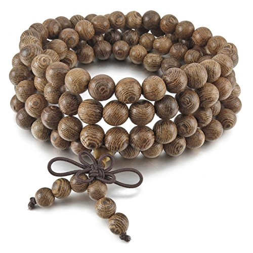 INBLUE Men,Women's 8mm Wood Bracelet Link Wrist Necklace Chain Tibetan Buddhist Grey Bead Prayer Buddha Mala Chinese knot Elastic