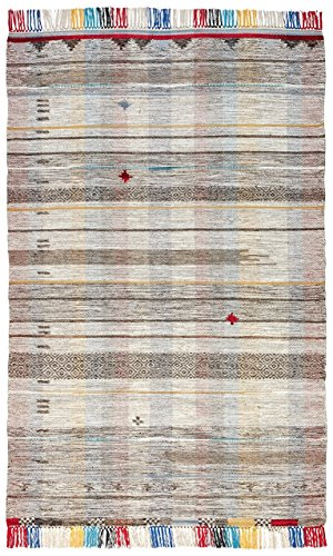 Stone & Beam Contemporary Boho Colorful Fringe Wool Area Rug, 4 x 6 Foot, Tan Multi (Rugs Area Wool Neutral)