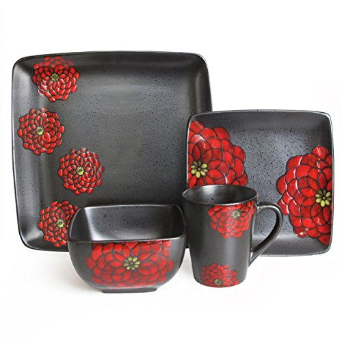 Asiana Red 16-Piece Dinnerware Set
