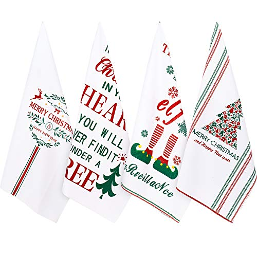 Whaline Christmas Dish Towel Set, White Winter Holiday Kitchen Dishtowels 18