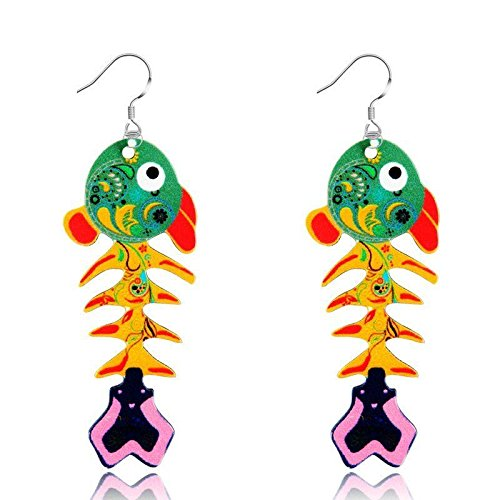 2.75' Drop (Fashion Colorful Printing Fish Dangle Ear Earrings Hook Women Lady Jewellery New Green)