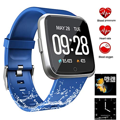Fitness Tracker, Activity Tracker Fitness Watch with Heart Rate Monitor Color Screen,Waterproof Smart Bracelet with Step Counter,Calorie Counter,Pedometer for Kids Women Men Android iOS (Blue)