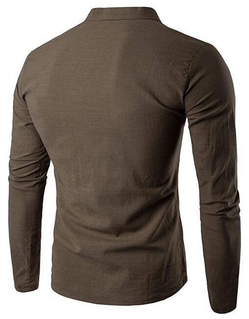 Suncolor8 Mens Plain Long Sleeve V-Neck Casual Stand Collar Henley Shirts