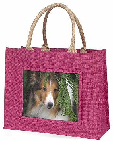 Advanta Shetland Sheepdog Große Einkaufstasche/Weihnachtsgeschenk, Jute, pink, 42x 34,5x 2cm