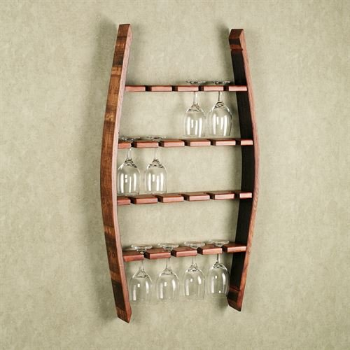 Two Day Designs Reese Wine Glass Wall Rack Mission Red Oak ()