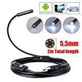 Zipom USB Endoscope Inspection Camera 7mm Android Borescope Inspection HD Camera Waterproof 6 Adjustable LEDs USB Android Borescope with OTG and UVC Function (7mm-3.5M)