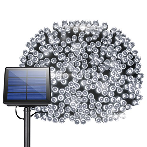 Litom 300 LED Solar Super 105ft Outdoor String 8 Modes Waterproof Decorative Fairy Patio Garden Gate Yard Party Wedding Christmas Thanksgiving Halloween(White Light)