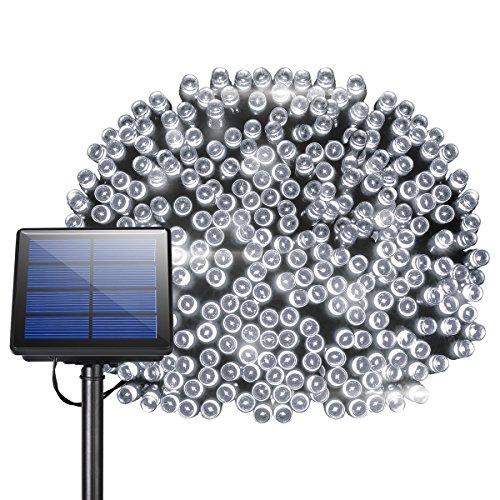 Litom 300 LED Solar Super 105ft Outdoor String 8 Modes Waterproof Decorative Fairy Patio Garden Gate Yard Party Wedding Christmas Thanksgiving Halloween(White Light)