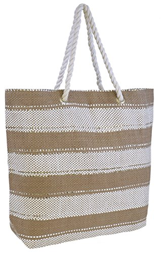 Beige Lora Reusable Tote Stripe Metallic Summer Bag Shoulder Bag Handbag Beach Dora Womens Holiday Canvas Beach RfwR6xqHC