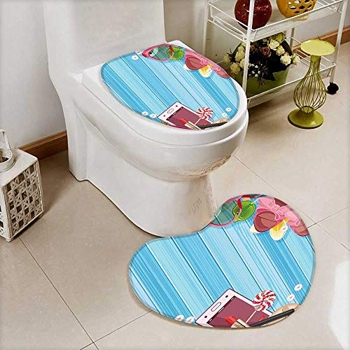 U-Shaped Toilet Mat-Soft Woman Style Cosmetic Lipstick Sunglasses Candies Sexy Icon Life Illustration Multicolor 2 Piece Toilet Toilet mat