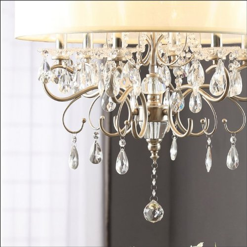 Silver mist hanging crystal drum shade chandelier amazon mozeypictures Image collections