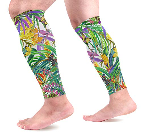 KEAKIA Tropical Leaves and Butterfly Calf Compression Sleeves Shin Splint Support Leg Protectors Calf Pain Relief for Running, Cycling, Travel, Sports for Men Women (1 Pair)